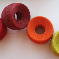 Linen Yarn Burgundy Red Orange Yellow 270 gr (9,45oz ), skein / 1 ply, each skein contains approximately 1900-2100 yds