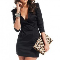 3/4 Sleeve V Neck Dress in Black by ShopAKIRA | Back Zipper Dress | ShopAKIRA.com