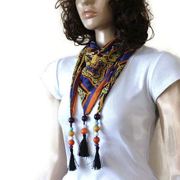 Scarf  With Tassels - Scarf With Wooden Beads