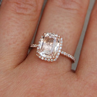 2.4ct Cushion peach champagne sapphire in 14k rose gold diamond ring engagement ring
