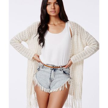 Missguided - Dedra Crochet Tassel Cardigan