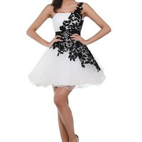 FashionFits Women's Applique Short Prom Dress Color Black and White Size US4/UK8/EUR34