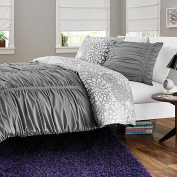 Reagan Reversible Comforter Set in Cool Grey