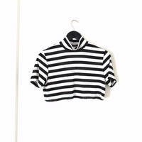 black and white striped turtle neck GRUNGE crop top medium