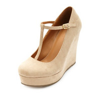 Soda Round Toe T-Strap Platform Wedges by Charlotte Russe - Oatmeal