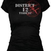 The Hunger Games - Tribute Spray Juniors T-Shirt In Black