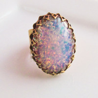 Fire Opal RingVintageHarlequin GlassMexican by PursesonalStyle