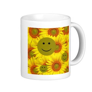 Sunflowers Smiley Face Mug