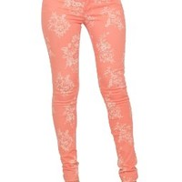 Hot From Hollywood Women's Printed Skinny Floral Zip Up Button Closure Jeggings:Amazon:Clothing