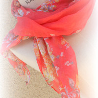 Coral  Scarf Summer Lightweight Floral Scarf  Women trendy Scarf Accessories - By PiYOYO