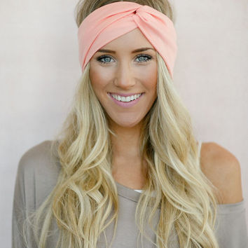 the Perfect Turban, Jersey Headband, Twist Head Wrap, Twisted Hair Wrap, Women's  Hair Accessories, Matte Jersey Turband in Peach (HB-3865)
