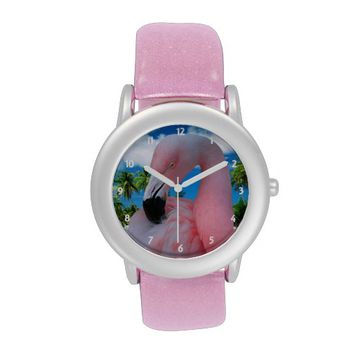 Pink Flamingo Glitter Watch