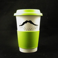 2 Sided Travel Mustache Mug Lime Good Day and Bad by kaoriglass