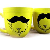 Spring break mustache mug set of 2 by kaoriglass on Etsy