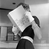 Model Jean Patchett Modeling Cheap White Touches That Set Off Expensive Black Dress Photographic Print by Nina Leen at Art.com