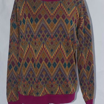 Multi Color Aztec Sweater Vintage Tribal print M/L