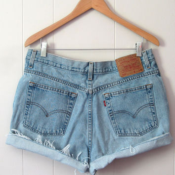 Vintage Levi's Light Wash High Waisted Cut Off Denim Shorts Jean Cuffed 33""