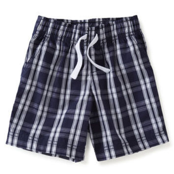 Pull-On Flat Front Plaid Shorts