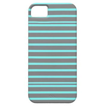 Grey Aqua Stripes iPhone 5/5S Cases