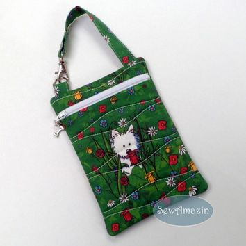 Garden Westie Quilted Cell Phone Case, Tech Bag, Zipper Purse, Green