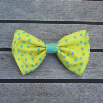 Yellow and Teal Polka Dot Hair Bow