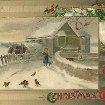 "Antique Postcard ""With Best Christmas Wishes"" Holly Berries A beautiful Winter Scene Frozen Water Wheel Birds 1910"