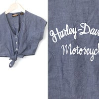 Vintage Pinup // Harley Davidson Denim Tie Front Crop Top // Medium Dark Wash // Size Extra Small XS / Small