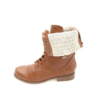 LACE-LINED FOLD-OVER COMBAT BOOTS