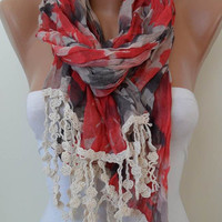 Red and Grey Scarf with Beige Trim Edge New by SwedishShop