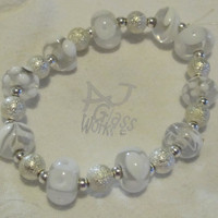 White and Clear Bead Bracelet Item 4 by AJGlassWorks on Etsy