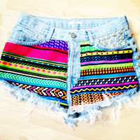 Vintage Studded &amp; Hand Printed Denim Shorts by vs4lovematinee