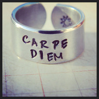 carpe diem sun stamped on the inside aluminum cuff ring