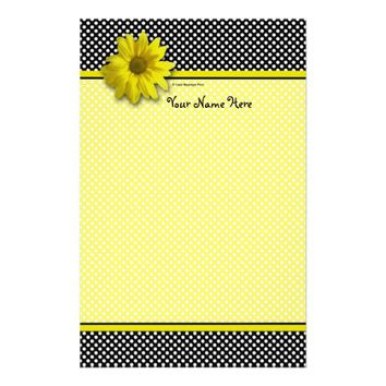 Yellow Daisy Black and White Polkadots