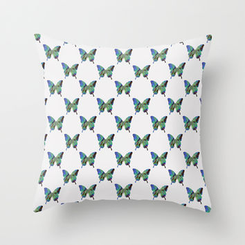NY - butterfly pattern Throw Pillow by Steffi ~ findsFUNDSTUECKE