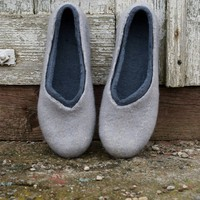 Felted slippers made of softest merino wool 2in1 GREY by ing00te