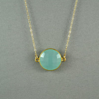 Beautiful Chalcedony Necklace Aqua Blue 24K by WonderfulJewelry