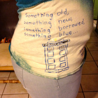 Something Blue Doctor Who Hand Painted Upcycled Tee by CosmicTees