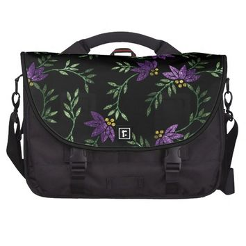 Glitter Purple Floral Pattern Print Computer Bag
