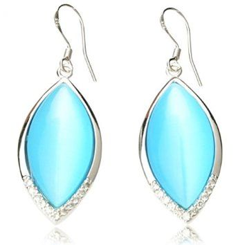 2pcs Delicate Oval Shape Opal 625 Silver Rhinestone Women Earrings Blue