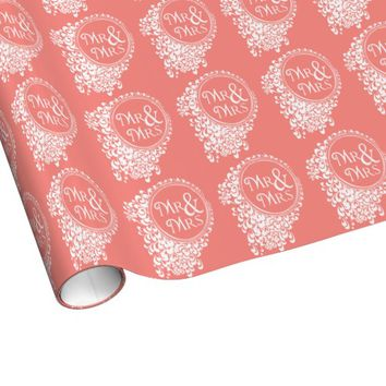 Mr & Mrs Vintage Coral Wedding Wrapping Paper