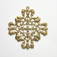 Raw Brass Maltese Cross Filigree Pendant Stamping 49mm x 52mm - 1 pcs.