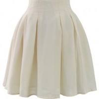 Beige pleated skater skirt