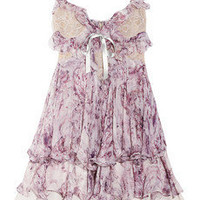 Alexander McQueen|Ruffled printed silk-chiffon mini dress|NET-A-PORTER.COM