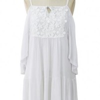 White shoulder dress with frill hem