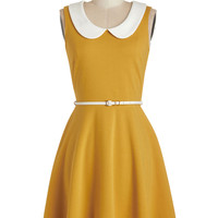 ModCloth Vintage Inspired, 60s, Scholastic Sleeveless A-line Work to Play Dress in Goldenrod