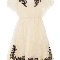 Valentino|Appliqud lace dress|NET-A-PORTER.COM