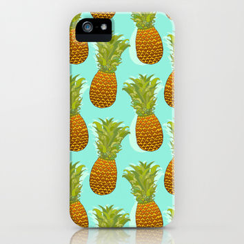 Pineapple Pop Art Pattern on Mint iPhone & iPod Case by Tangerine-Tane