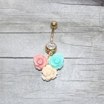 Three Flower Pink Mint and Cream Gold Dangle Belly Ring