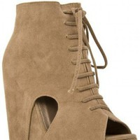 JUST ZIP IT UP LACE UP BOOTIE WEDGE-Wedges-wedge heels,leopard wedges,suede wedges,Sexy wedges,white wedges,black wedges,sexy wedges,Silver Wedge