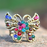 Vintage Bronze Rhinestone Studded Butterfly Animal Ring at Online Cheap Vintage Jewelry Store Gofavor